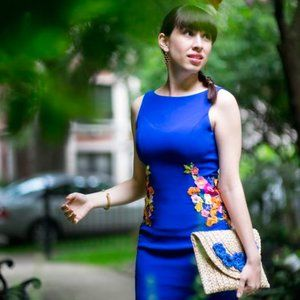 Cheerily Beloved Floral Embroidered Sheath Dress